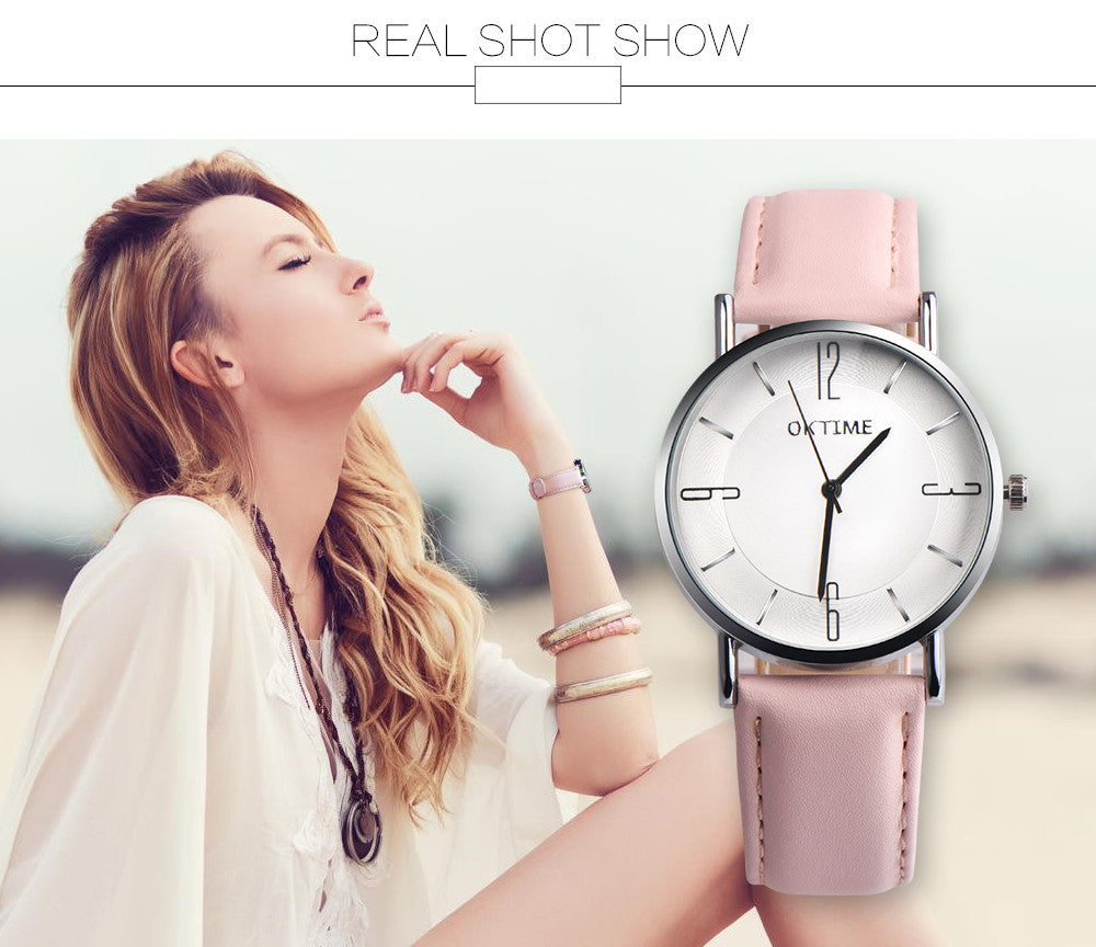 Fashion Couple Retro Design Leather Band Analog Alloy Quartz Wrist Watch _ FREE SHIPPING