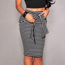 Plus Size High Waist Striped Skirt - Courbee Boutique