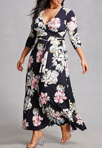 Plus Size Floral Print V-Neck Three Quarter Sleeve Dress - Courbee Boutique
