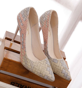 Retro plaid heels pointed shoes - Courbee Boutique