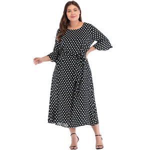 Plus Size Polka Dot Print Loose Dress - Courbee Boutique