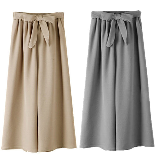 Plus Size Bow Solid Ankle-Length Pants - Courbee Boutique
