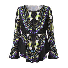 Plus Size Asymmetric Long Sleeve Printed Zipper Blouse - Courbee Boutique