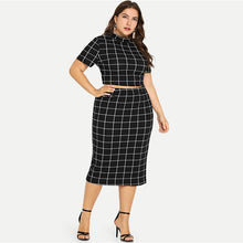 Plus Size Two Piece Short Sleeve Skirt Set - Courbee Boutique
