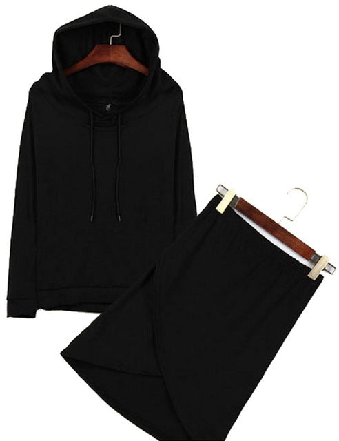 Plus Size Long Sleeve Cotton Hoodies Sweatshirts +Skirt Set - Courbee Boutique