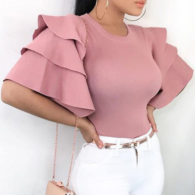 Plus Size Ruffle Short Sleeve Blouse - Courbee Boutique