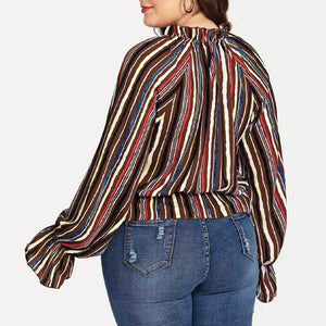 Plus Size Long Sleeve Blouse - Courbee Boutique