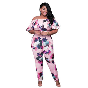 plus size floral print off shoulder ruffles bodycon jumpsuit - Courbee Boutique