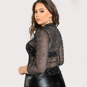 Plus Size Sheer Mesh Long Sleeve Shiny Black Blouse - Courbee Boutique