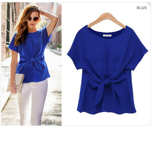 Plus Size Kimono Bowknot Short Sleeve Chiffon Blouse - Courbee Boutique