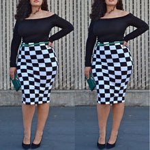 Fashion Print summer women shirt big sizes plus size women clothing Knee-Length skirt casual slash neck bodycon skirt - Courbee Boutique