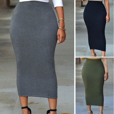 Plus Size High Waist Midi Skirt - Courbee Boutique