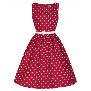 Plus Size Vintage Polka Dot Sleeveless Knee Length Dress - Courbee Boutique