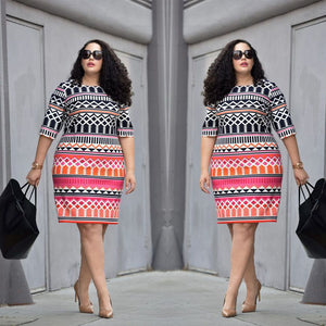Plus Size Lady Bodycon Dress - Courbee Boutique