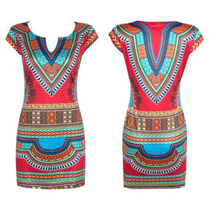 Plus size Sleeveless Traditional African Print Party Dress - Courbee Boutique