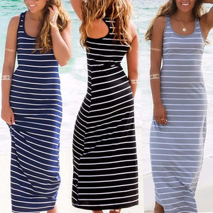 Plus Size Striped Boho Long Maxi Sleeveless Dress - Courbee Boutique
