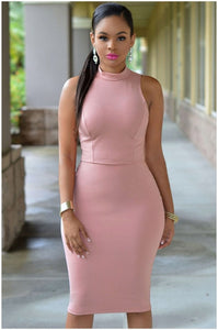 Plus size  Solid color sexy pencil dress - Courbee Boutique