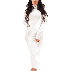 Plus Size Dress High Collar Long Sleeve Long Dress - Courbee Boutique