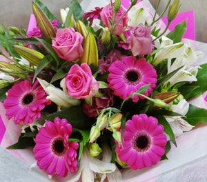 Lilies, gerberas and roses