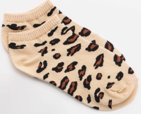 Stella + Gemma socks - No-show Leopard cream