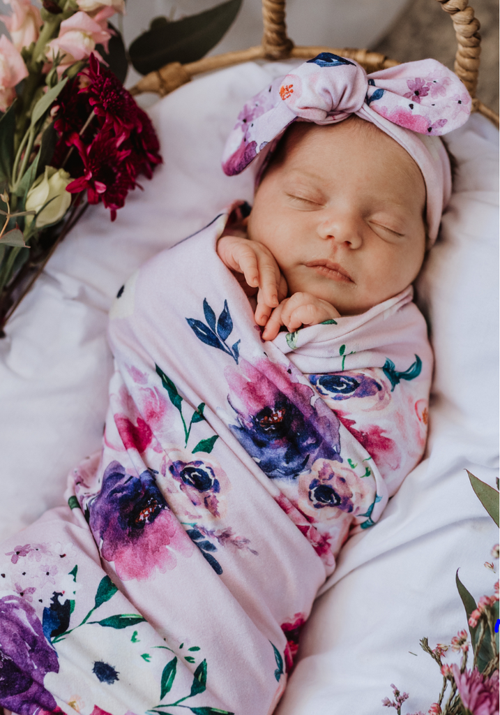 Snuggly Hunny  Jersey Wrap & Topknot Set - Floral Kiss