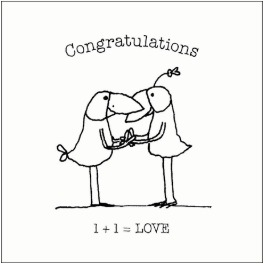 Affirmations Congratulations card - 1 + 1 = LOVE
