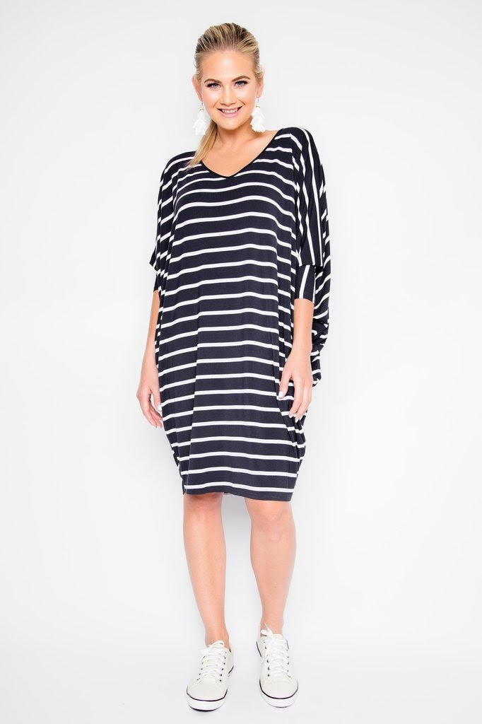 PQ Collection Miracle Dress Black White Stripe Long sleeved