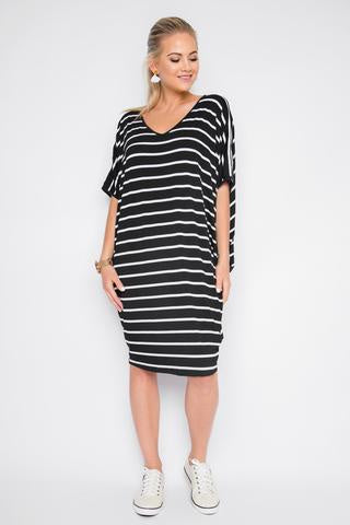 PQ The Label Original Miracle Dress - Black and white stripe