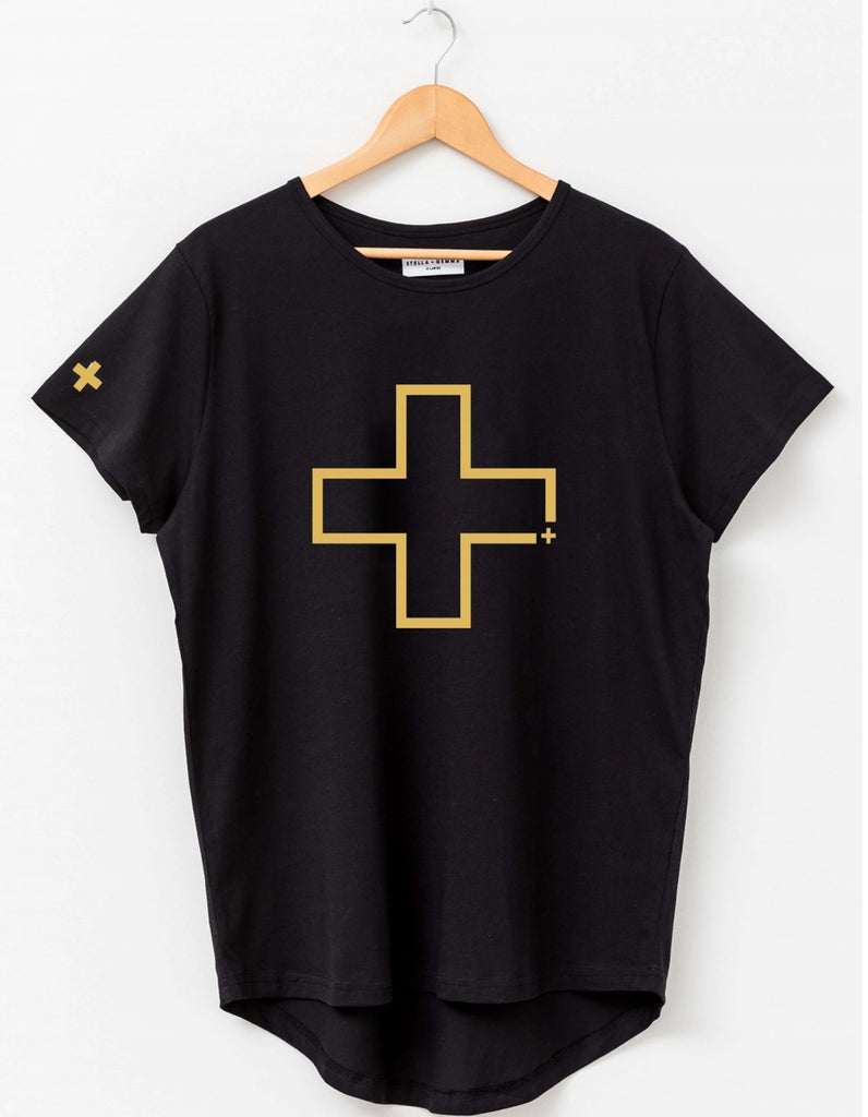 Pre-Order Stella + Gemma Black with Gold Cross Tee