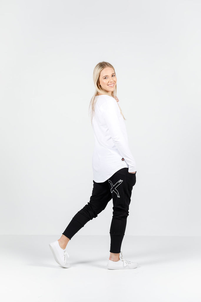 Home-lee Apartment Pants - winter weight Black X print in white