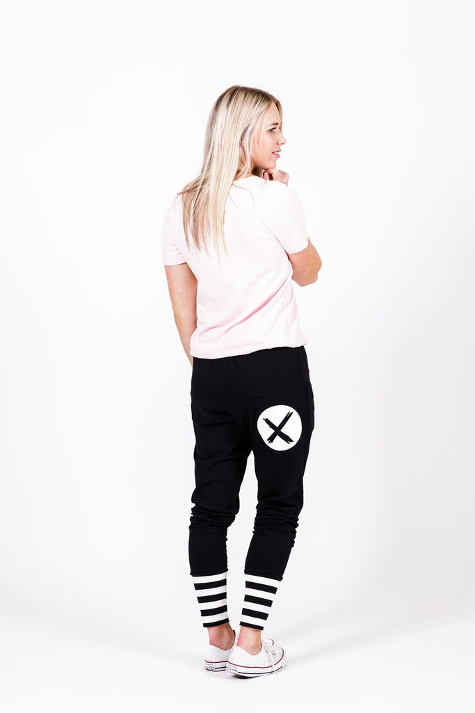 Home-lee Apartment Pants -Black with white X spot print and stripe cuffs