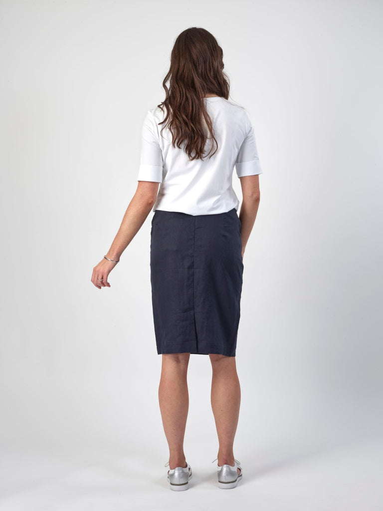 Vassalli Zip Up Straight Skirt W Pockets - Navy