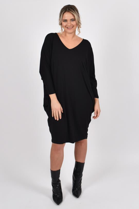 PQ Collection Miracle Dress Black Long sleeved