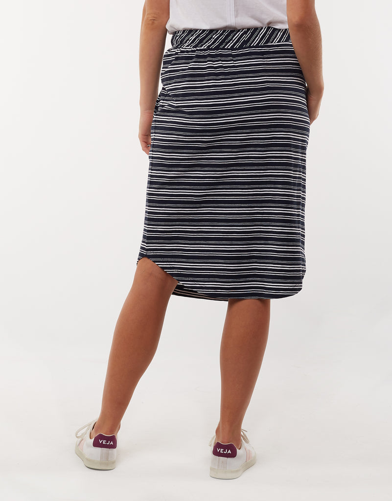 Elm Isla Stripe Skirt - Navy