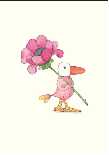 Affirmations Little Card - bird with flower