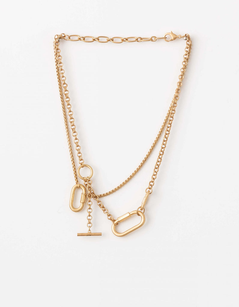 Stella + Gemma Necklace Gold chain Choker + Fob