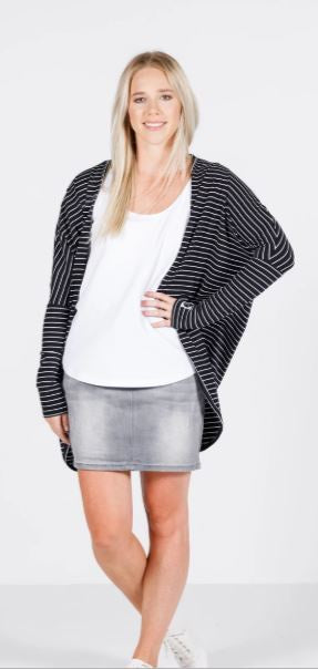 Home-Lee Long Sleeve Kimono Black white stripe