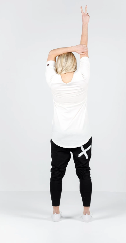 Home-Lee Apartment Pants - Black with single white X print