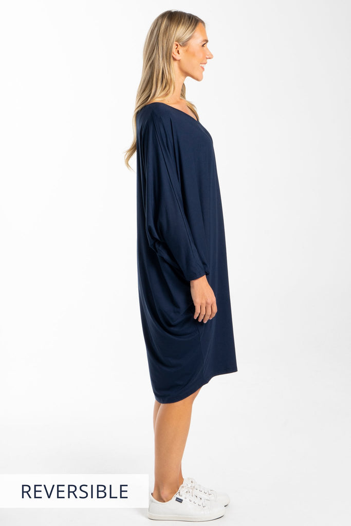 PQ Collection Miracle Dress Navy Long sleeved