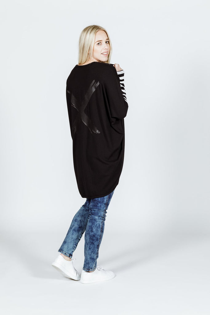 Home-lee Long sleeve Kimono - Black with Black X Print