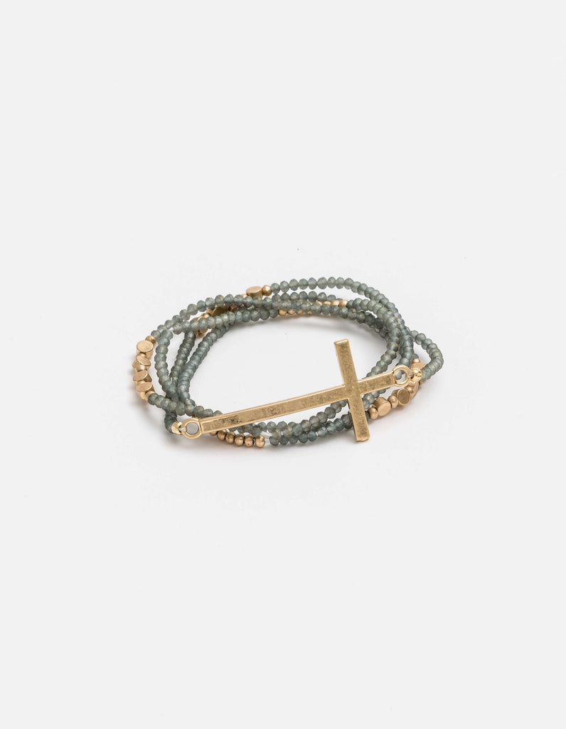 Stella + Gemma - Wrap Grey Bead GLD Cross