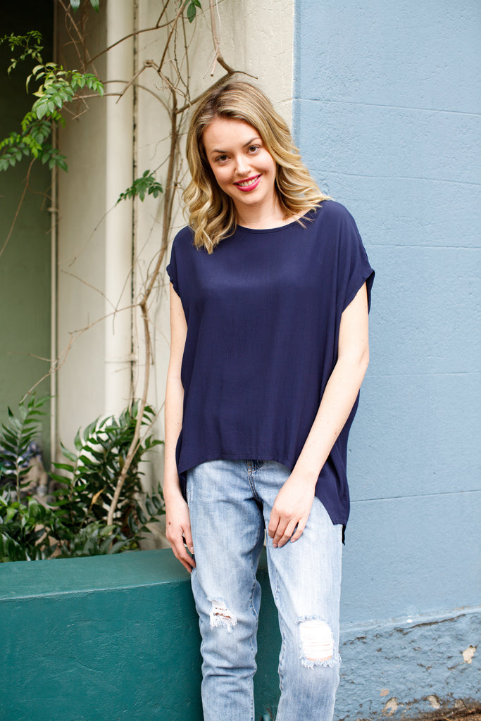 Boho Jane Scoop Top - Navy