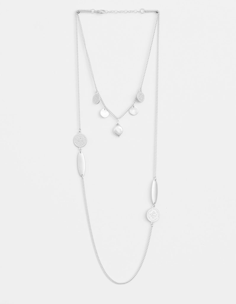Stella + Gemma Necklace Matt Silver Etched Coin