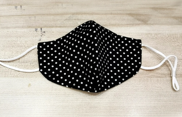 Minx Face Mask - single black with white dots