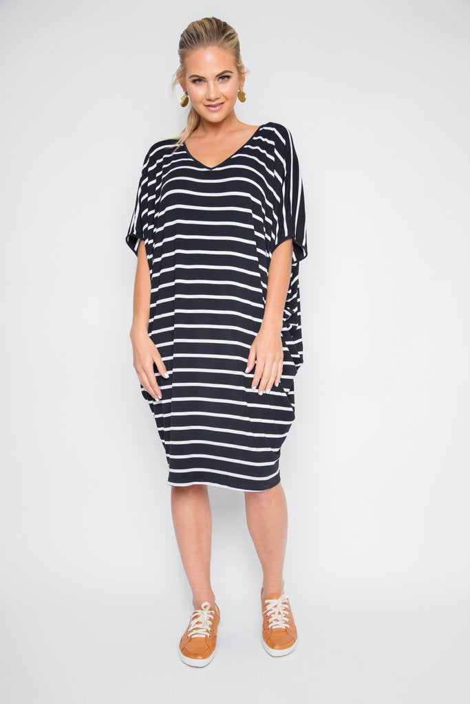 PQ The Label Original Miracle Dress - Navy and White