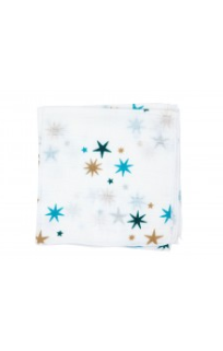Baby Bow 3 Pack Muslin Face Washers - Star Blue