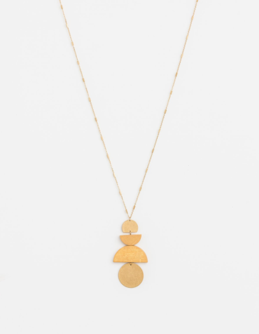 Stella + Gemma Necklace Gold/Natural Pendant