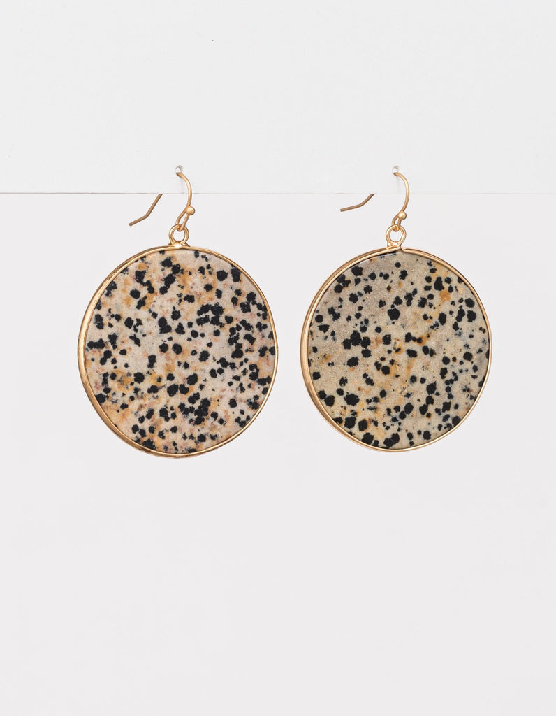 Stella + Gemma Earrings Speckle Stone Sphere