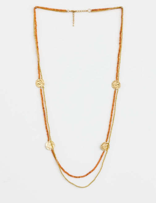 Stella + Gemma Necklace Citrus Double w/ Gold Coins
