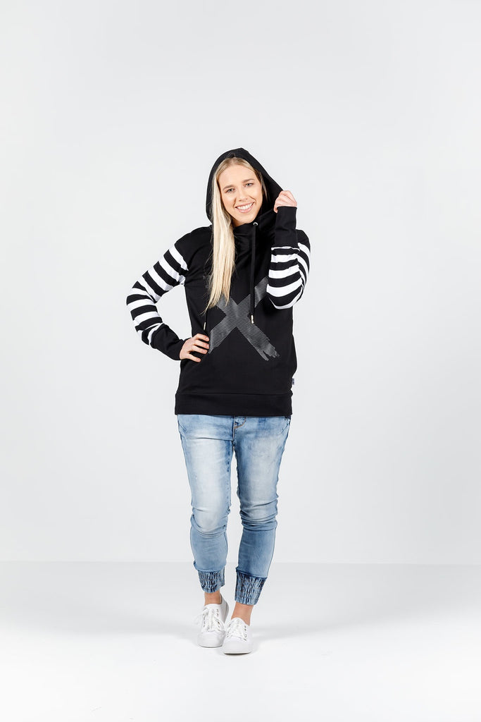 Home-lee Hooded Sweatshirt - Black with Black X & Striped Sleeve